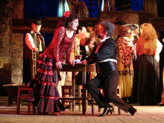 opera carmen Gaelle arquez as carmen and scott hendricks as escamillo perform during the  rehearsal of the opera 'carmen' prior to a festival in austria,.