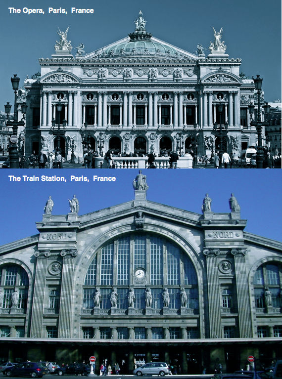 Gare du Nord and Paris Opera Front Façade