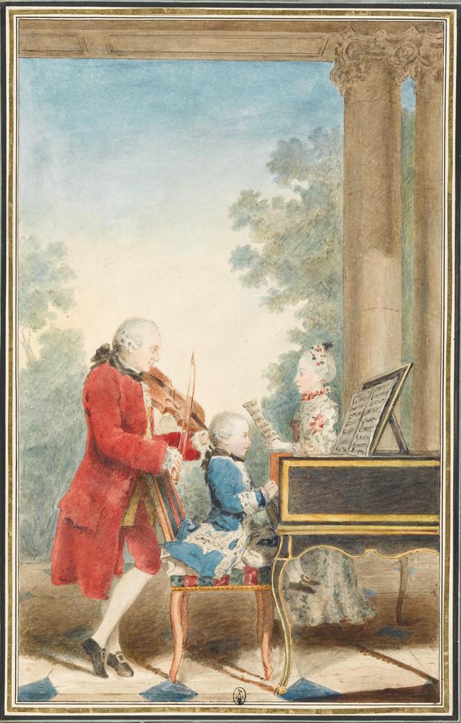 Young Mozart with Father and Sister in Paris, France